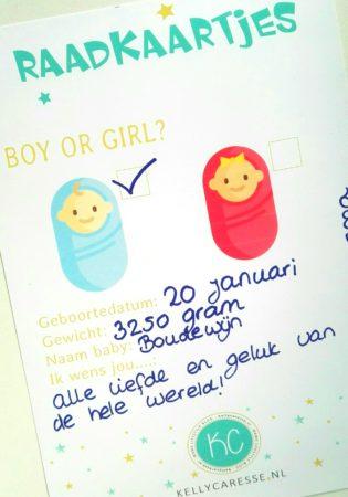raadkaartjes geslacht baby