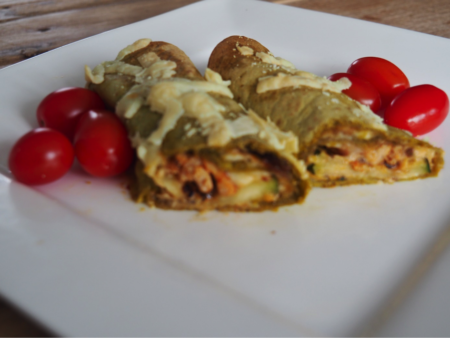 Boerenkool tortilla met kip en courgette